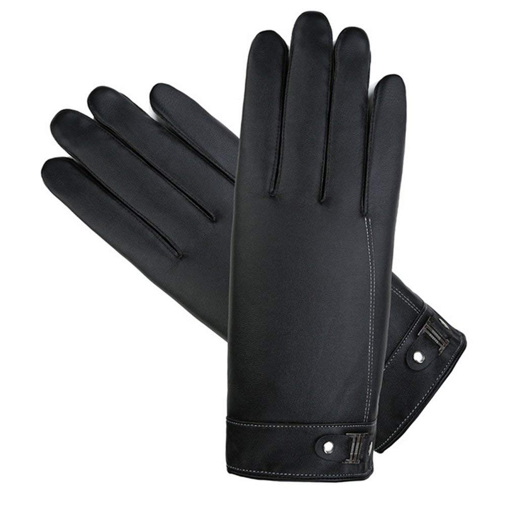 ENCOCO Mens Winter Leather Warm Touchscreen Texting Thick Thermal Driving Gloves