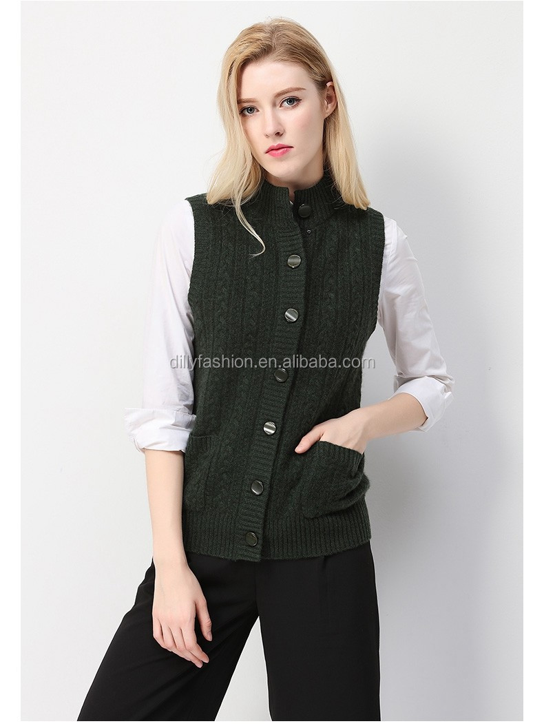 Vest Trui.Dames Fancy Kasjmier Halve Kraag Knoppen Mouwloos Vest Trui Vest Met