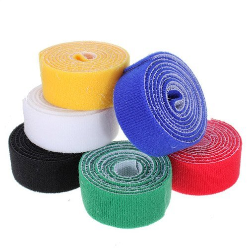 1 Pack of 1m 25mm Velcro Stick Cable Ties Velcro Hook & Loop Fastening Tape Strip Tie Roll (Randomly Color Will Be Sent)