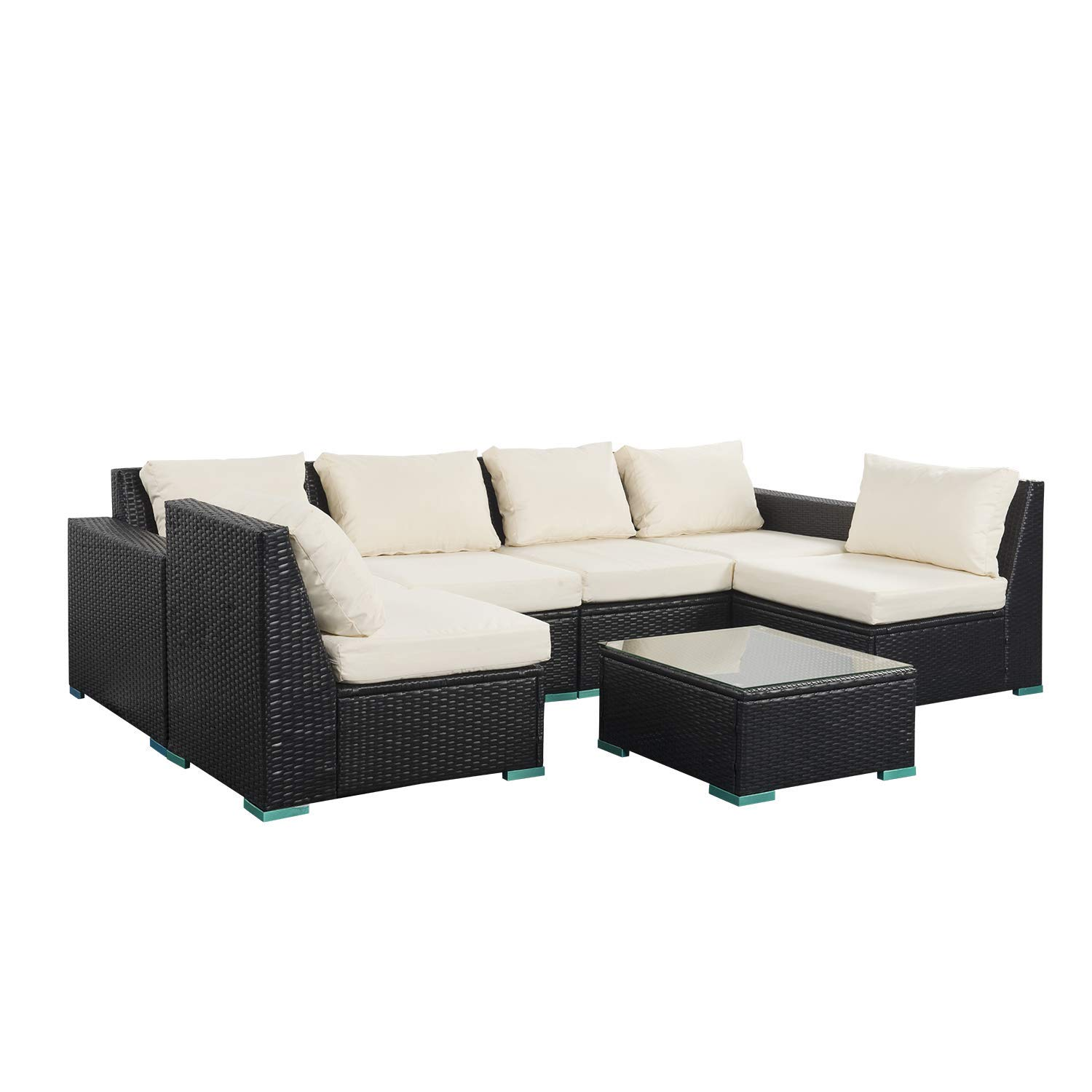 Get Quotations 7 Pieces Outdoor Patio Furniture Pe Rattan Wicker Conversation Sofa Sets With Cushions
