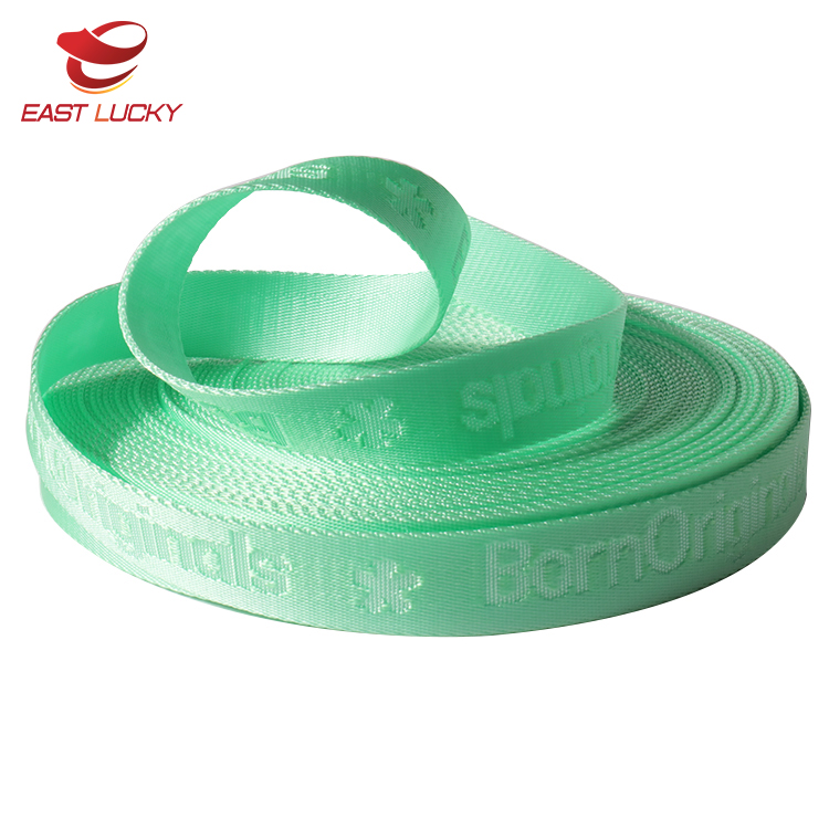 Fancy thick jacquard fabric custom embroidered nylon bands with logo