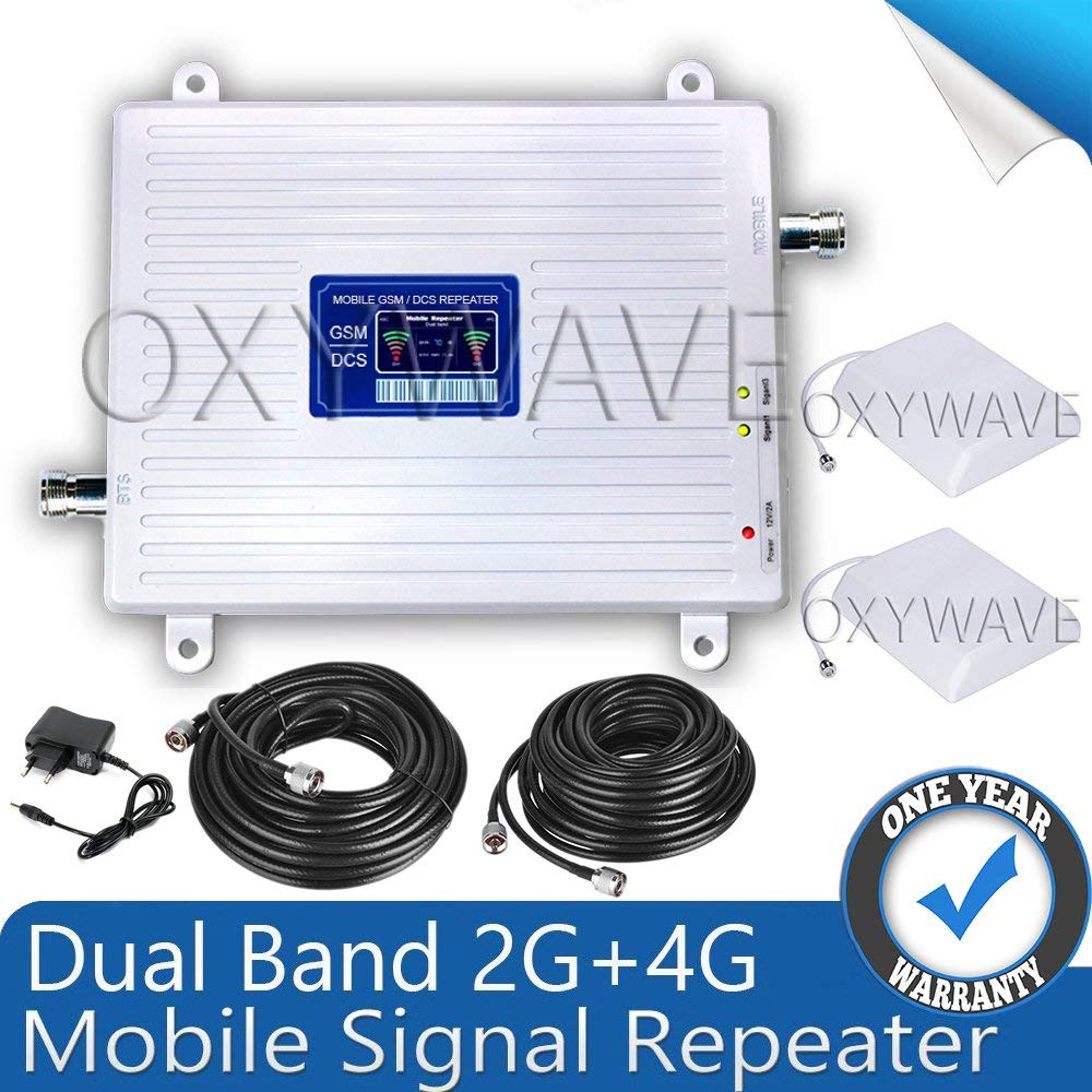 OXYWAVE Dual Band Gsm 900/1800 Mhz 2G+4G Universal Mobile Signal Booster Repeater Amplifier Complete Set [For Voice Calling + 4G Data Internet] Booster Gold