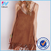 Yihao 2016 Lady New Designs Summer Sleeveless Peach Skin Tassel Dress Apparel Fashion Sexy Casual Women Dresses Girls Clothing