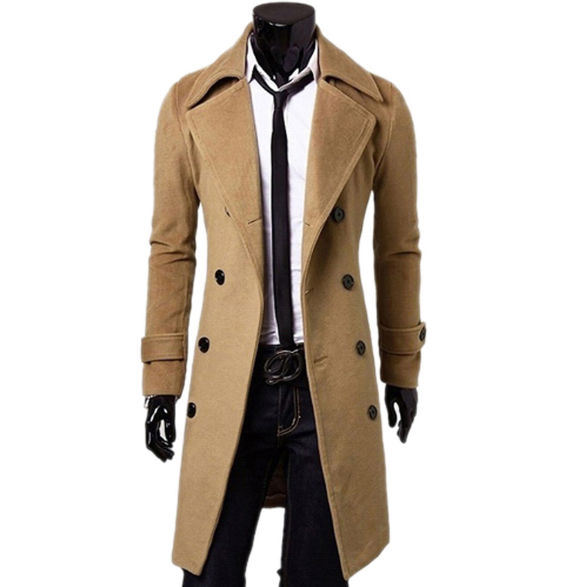 Famous Brand Men wool Double Breasted Coat Fashion Long Trench Coat Men mens jackets and coats winter mens coats overcoats