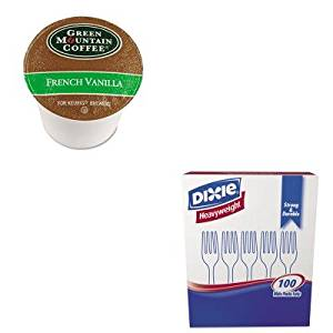 KITDXEFH207GMT6732CT - Value Kit - Green Mountain Coffee Roasters French Vanilla Coffee K-Cups (GMT6732CT) and Dixie Plastic Cutlery (DXEFH207)