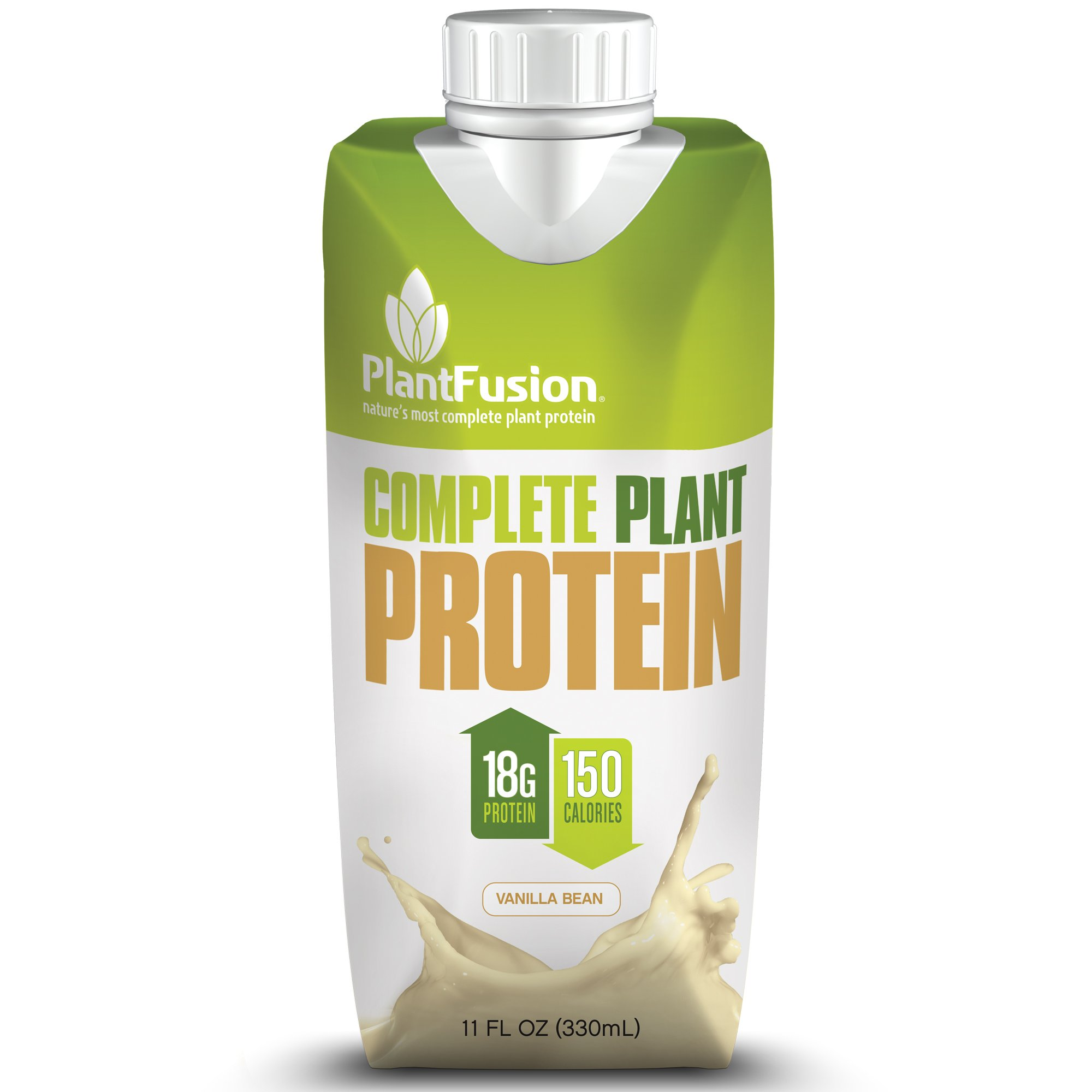 PlantFusion Complete Ready-to-Drink Plant-Based Protein Shake, Vanilla Bean, 11 oz  Carton, 12 Count, 18 g of Protein, 150 Calories, Non-GMO, Gluten Free