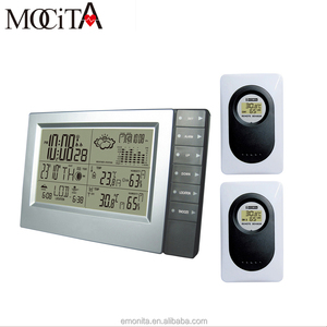 wireless led Weather Station with Digital Alarm Clock with 2 Transmitter Indoor/Outdoor Thermometer Hygrometer,