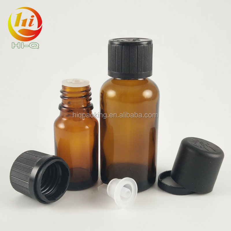 New style 10ml 30ml glass amber essencial oil bottle with childproof tamper evident cap no dropper brown glass bottle