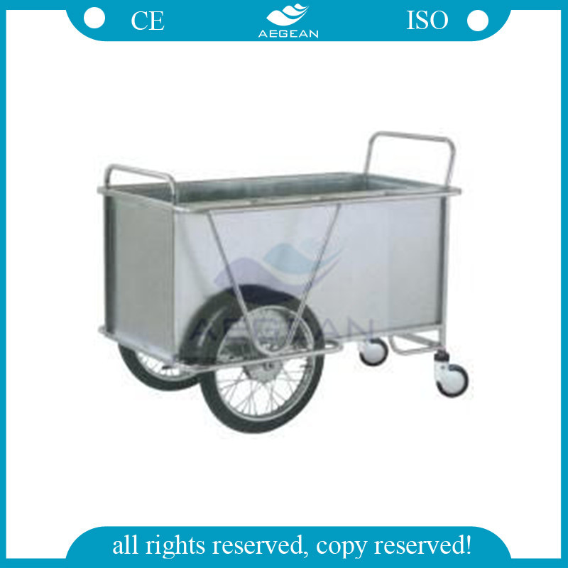 AG-SS025 With two big wheels hospital metal frame Laundry Cart
