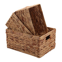 China supplier handmade water hyacinth storage basket natural basket with handle