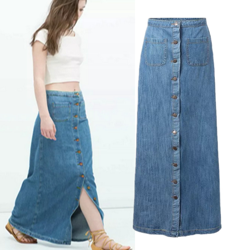6cb1f68b462 Get Quotations · 2015 new single-breasted suit means Xiaou beauty denim  skirt waist bust skirt slit skirt