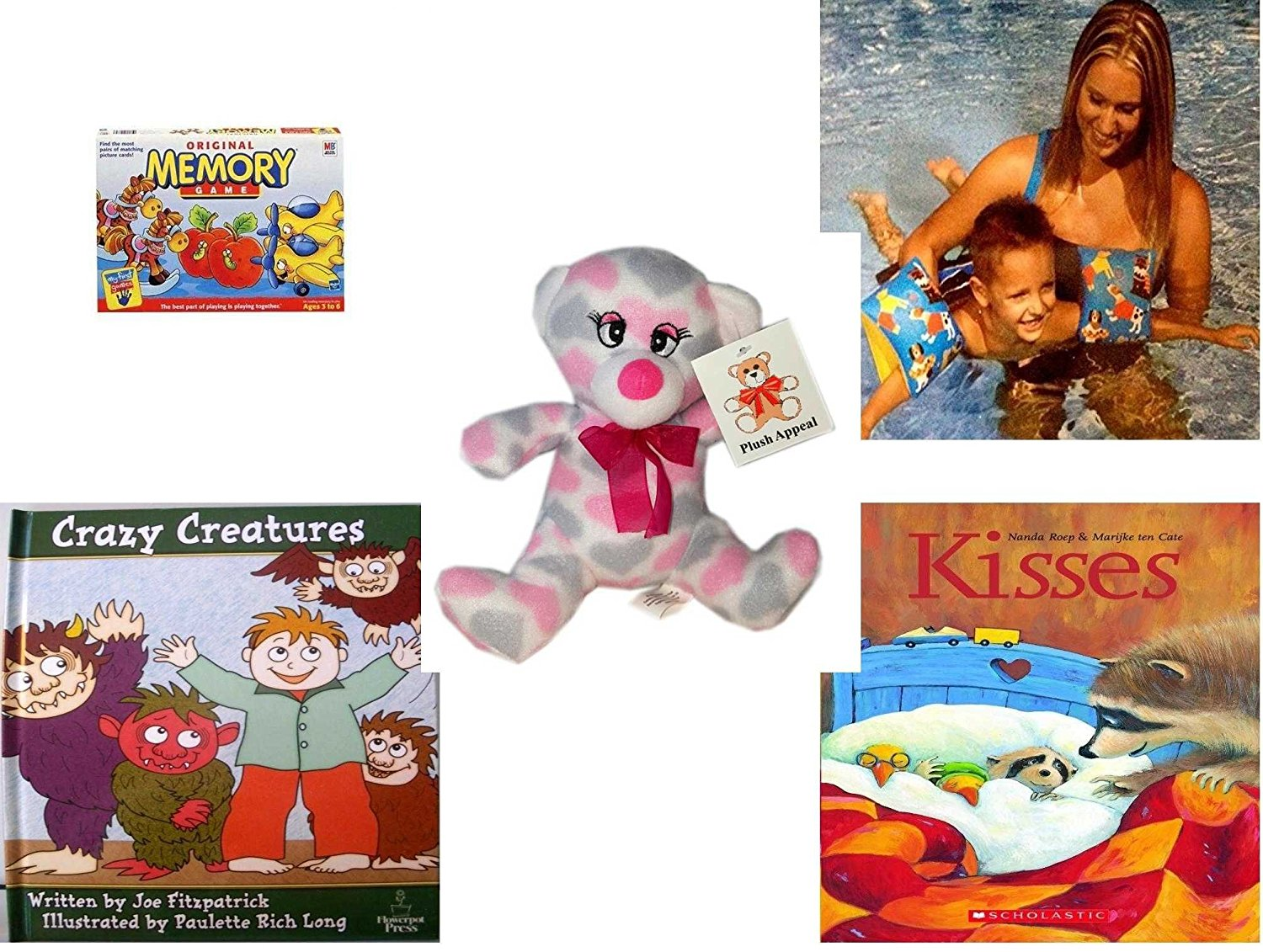 """Children's Gift Bundle - Ages 3-5 [5 Piece] - Original Memory Game - Horses, Apples, Planes Edition - Arm Bands for Swimming Pug Design Toy - Plush Appeal Pretty Pink and Purple Hearts Bear Plush 7"""""""