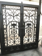 Affordable home security double iron doors entrance
