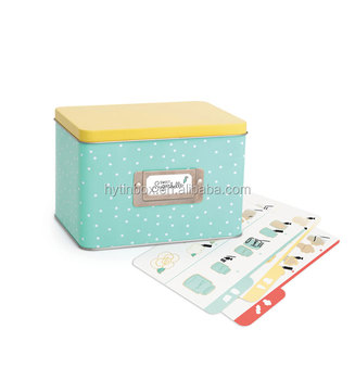 Custom Order Rectangular Shape Metal Recipe Card Tin box with card holder and recipe cards