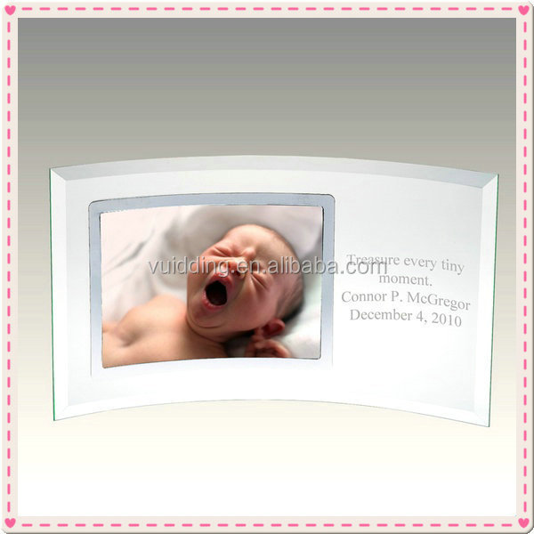 Winding Glass Newborn Baby Photo Frame With Personalized Text
