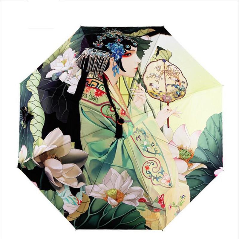 Многофункциональный леди принцесса древние девушка - доказательство солнце / дождь складной зонтик для женщин новый китайский стиль