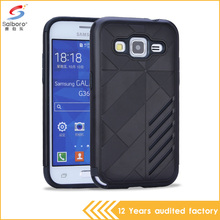 BLACK COLOR 2 in 1 hybrid armor tpu pc waterproof phone back case for samsung galaxy core prime cover