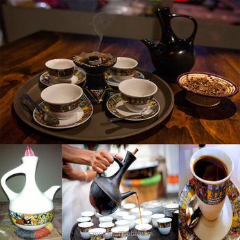 Jebena Ethiopian Eritrean Ceramic Coffee Cups With Saucers Set6 Cermic Cup Sheba Art Jeneba