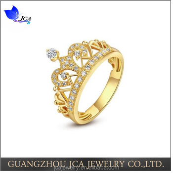 925 Sterling Silver Yellow Gold Plated Tiara Princess Cheap King Crown  Design Engagement Ring