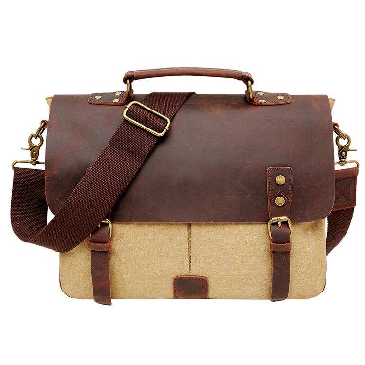 vintage canvas leather messenger bag 14-inch Laptop Briefcase for men