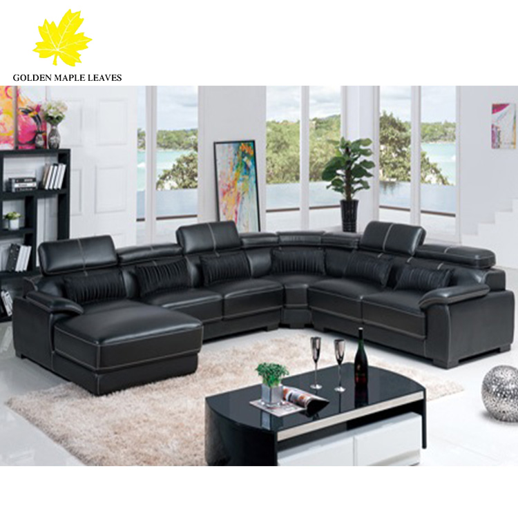 Baochi Black Leather Sectional Sofa