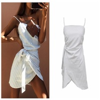 European and American foreign trade, fast selling, eBay bursting, sleeveless, striped, wide, women dress, summer dress