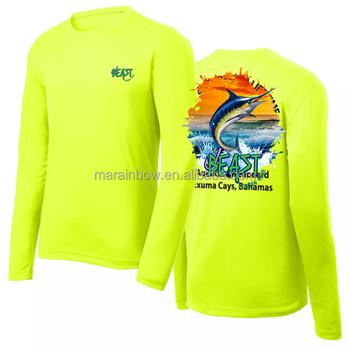 Néon Verde Pesca Camisa Manga Longa Com Logotipo Oem Impresso 4ca8f0e5c9680
