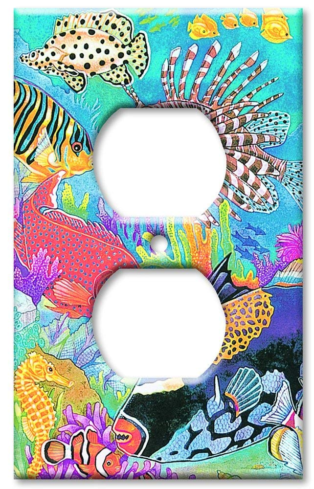 Art Plates - Outlet Cover OVERSIZE Switch Plate/OVER SIZE Wall Plate - Coral Reef