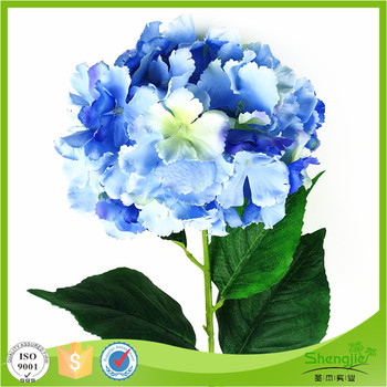New Design Home Decor Cheap Single Stem Silk Artificial Blue Hydrangea Flower