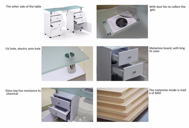 Best selling manicure nail table with exhaust fan (km-n053)