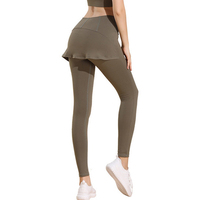 2020 women gym tights high waist long yoga leggings with skirt attached bamboo leggings