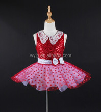 2017 Newly!!! Red requin with lace collar, beautiful chilren ballet tutu