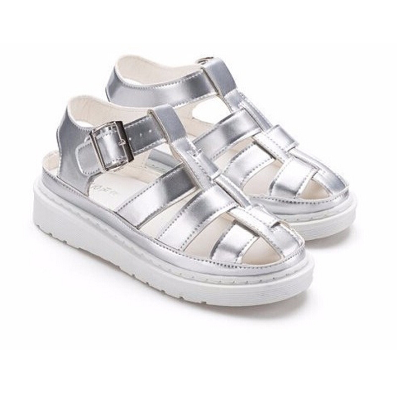 Women Shoes Fashion 2015 New Brand Buckle Strap Solid Color Flat Shoe Casual Outdoor Summer Sandals Rome Style Sliver DX2508