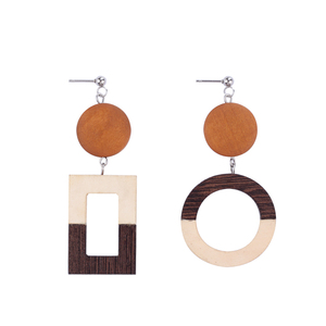 Hoyoo Best Selling fashion jewelry round and square wooden earrings for women girls
