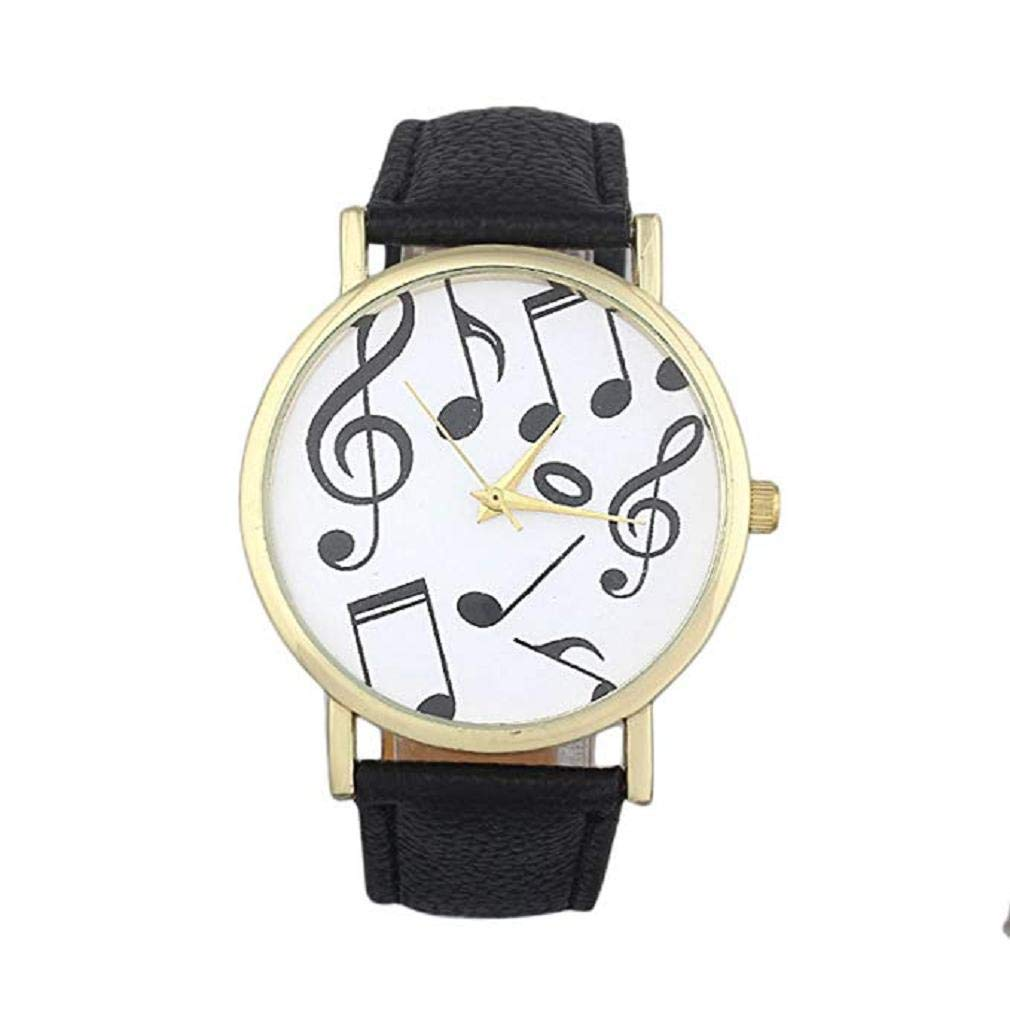 Women's Quartz Watches, Windoson Musical Notes Pattern Unique Analog Fashion Clearance Lady Watches Female Watches Casual Wrist Watches for Women Comfortable Faux Leather Watch (Black)