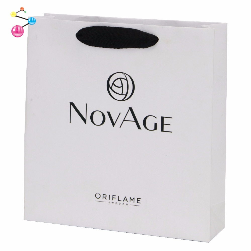 Logo Custom White Art Paper Bag Printing With Handle