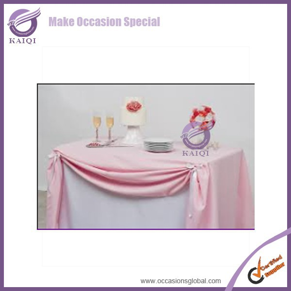 20817-3 polyester plain visa fitted table cloth for banquet and event White polyester wedding table cloth