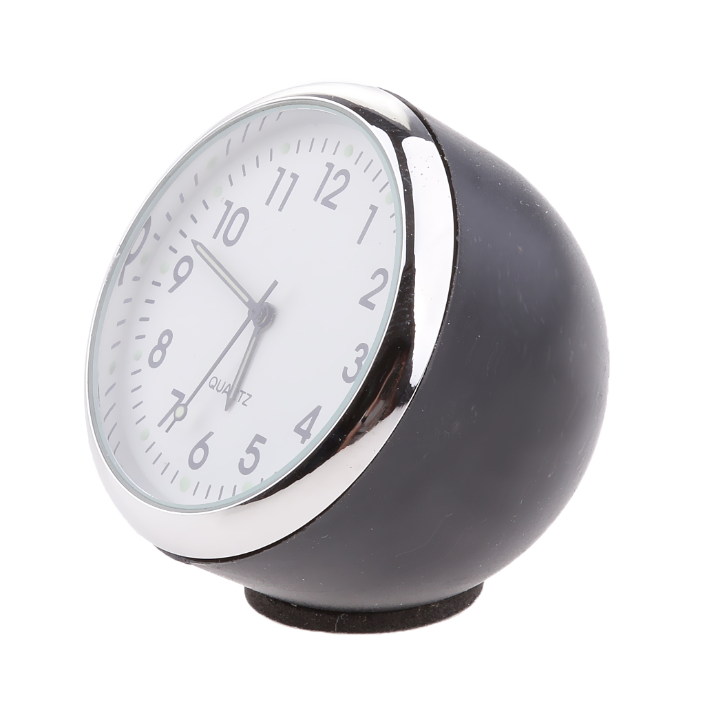 Fluorescent White Car Dash Mini Quartz Watch Clock Stainless steel frame  ABS plastic housing anti-scratch and rust proof