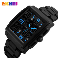 black square watch ,men dual time fashion outdoor sport digital watch