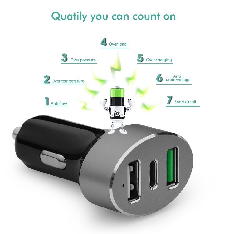 Aluminum Oval design 45W USB-C 3 Port Type C 5V 3A Car Charger with Smart IC Qualcomm Quick Charge 3.0 Car Charger Adapter