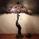 Retro tiffany style peacock feather stained glass table lamp from china