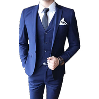 Gentlemen British Slim Fit Suit Men's Fashion 2-Piece Business Blazer Jacket Vest Trouser Suits Set for Men