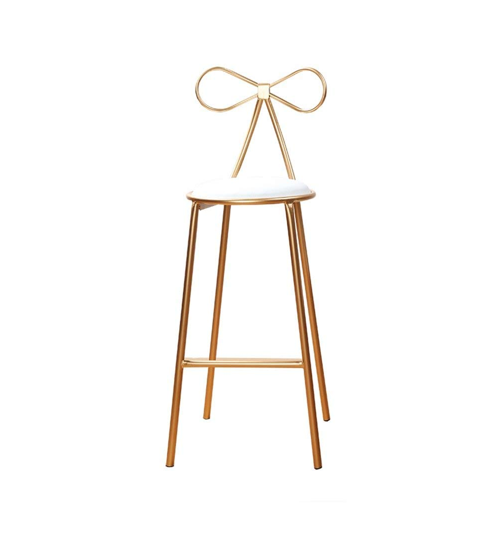 ZRXian-Barstools Bar Stools Bar Kitchen Breakfast Stool Padded Dining Chair White PU Seat Bar Chair High Stool Counter Chair Gold (Size : High65cm)