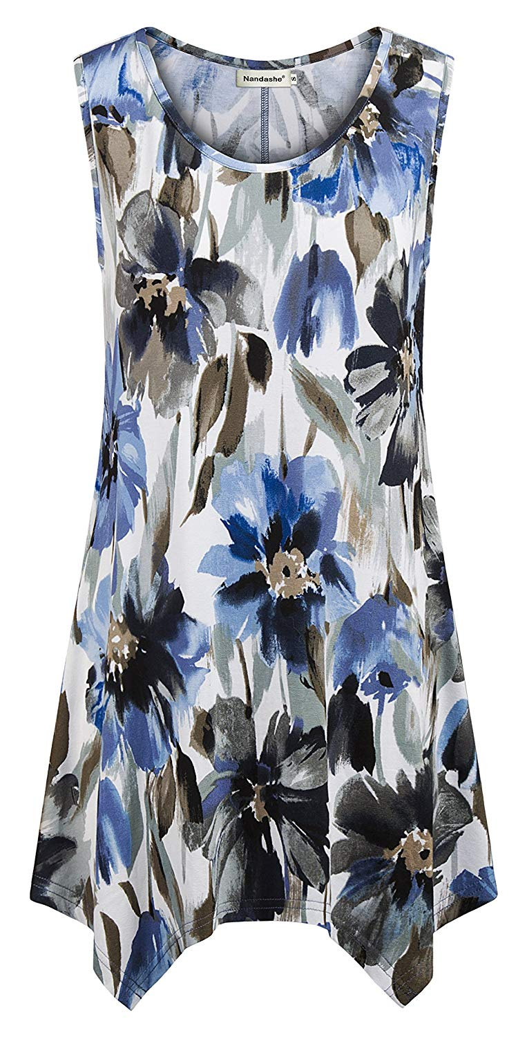 b91b06ae61cb39 Get Quotations · Nandashe Womens Summer Floral Tunic Tank Tops Casual Loose  Sleeveless Dressy Blouses
