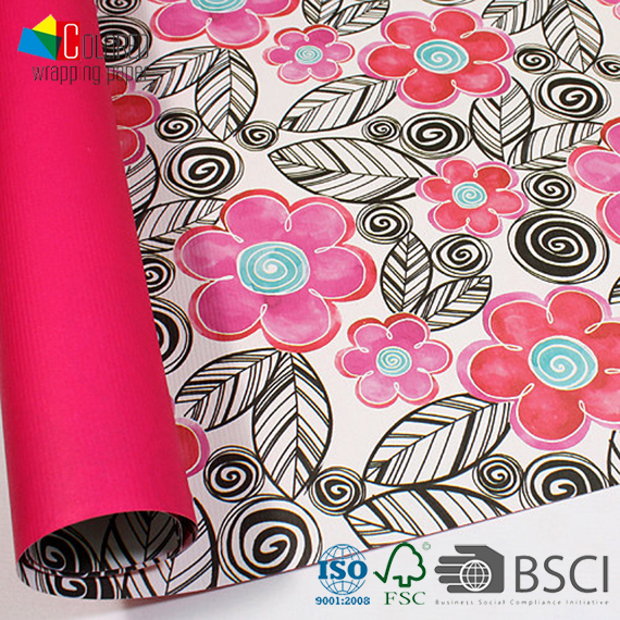 Flower Series Rosy Petal and Black Leaves Design Double Sided 2 Side Printed Gift Wrapping Paper Wholesale Packaging Paper