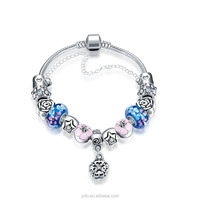 Colorful Crystal European Beads with Red Murano Glass Beads fit Snake Chain Charms Bracelet