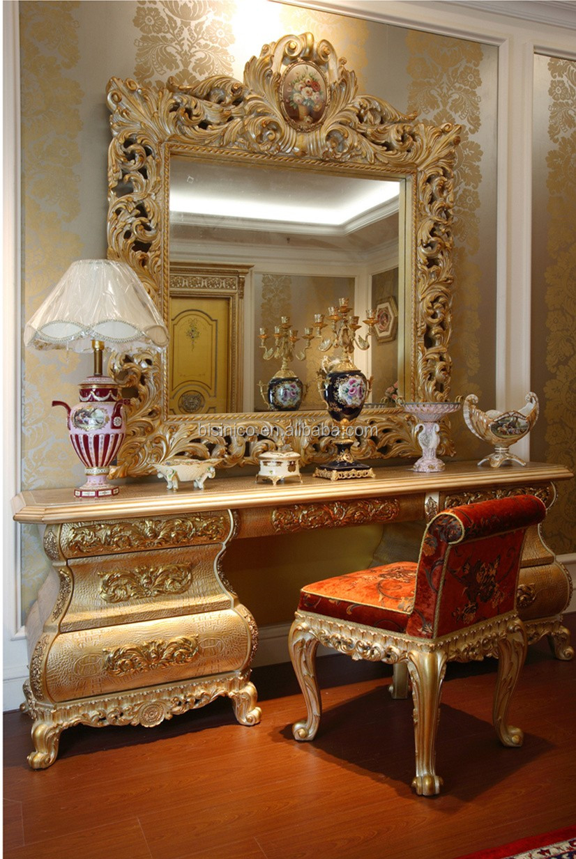 Luxury French Rococo Goldleaf Wood Vanity Makeup Dresser