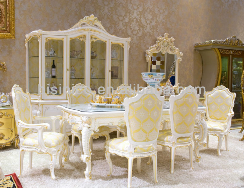 Luxury home dining table set,french classical dining table and chair antique style,wooden hand carving(B51002)