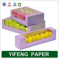 cheap customized clear plastic top gift kraft macarons box wholesale