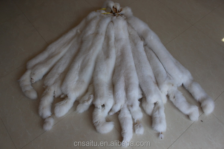 Whole pelt large size white color fox fur skins wholesale price white fox fur pelts